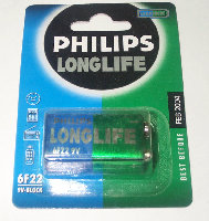 6F22-PH Blister pila salina 6F22 PHILIPS LongLife 9V